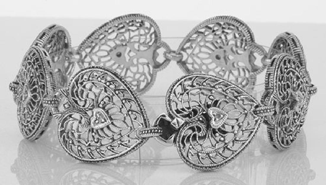 Victorian Style Filigree Diamond Heart Bracelet in fine - 2
