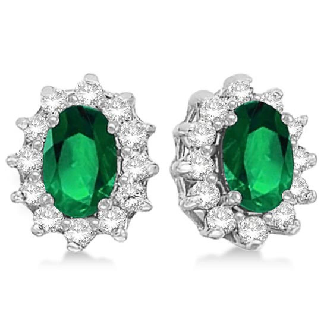 Oval Emerald and Diamond Accented Earrings 14k White Go