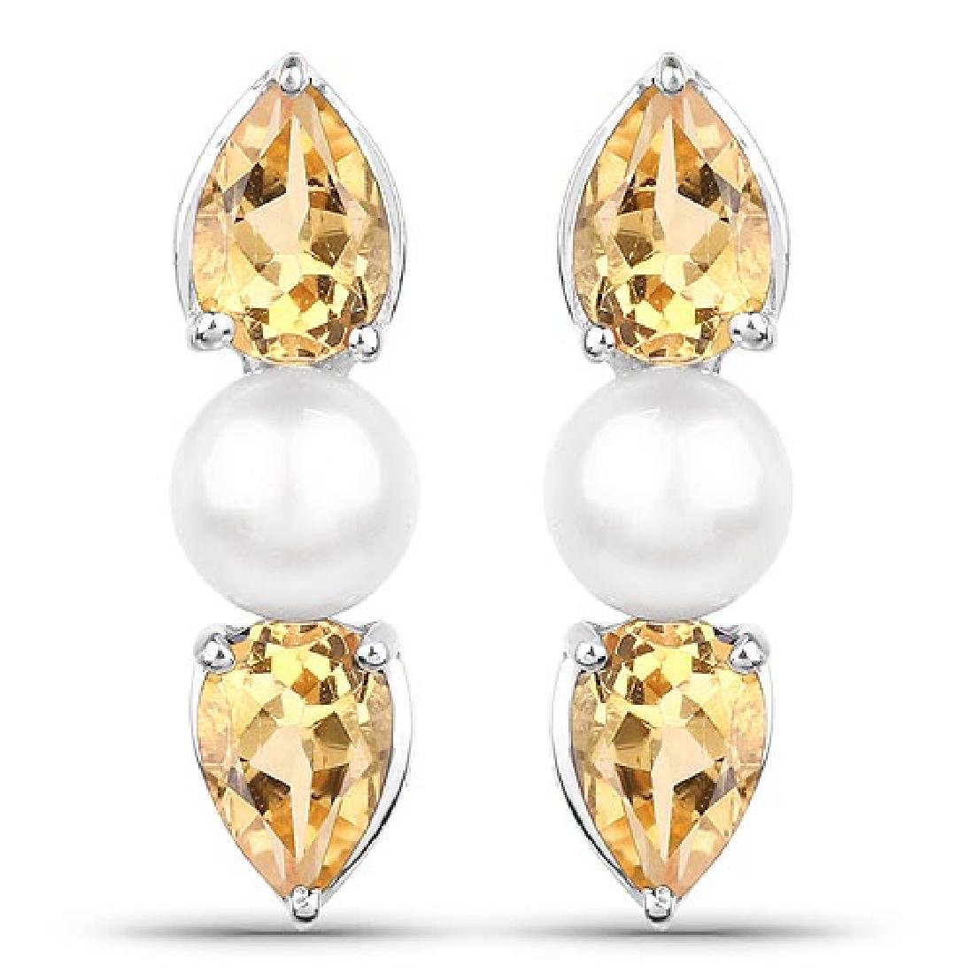 3.48 Carat Genuine Citrine and Pearl .925 Sterling Silv
