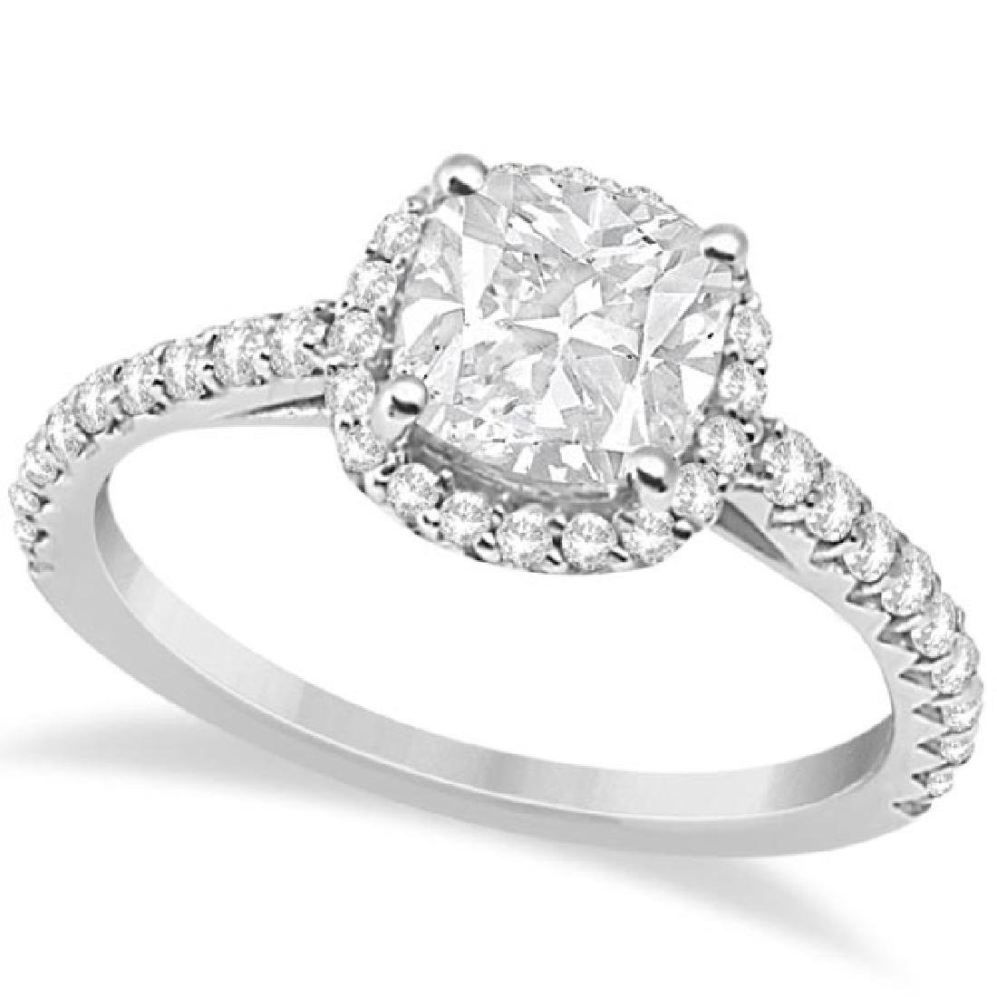 Halo Design Cushion Cut Diamond Engagement Ring 14K Whi