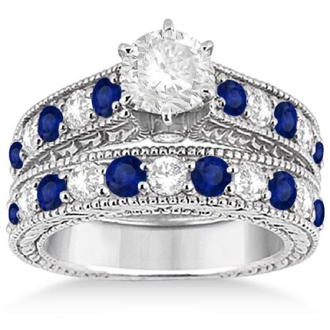 Antique Diamond and Sapphire Bridal Ring Set 14k White