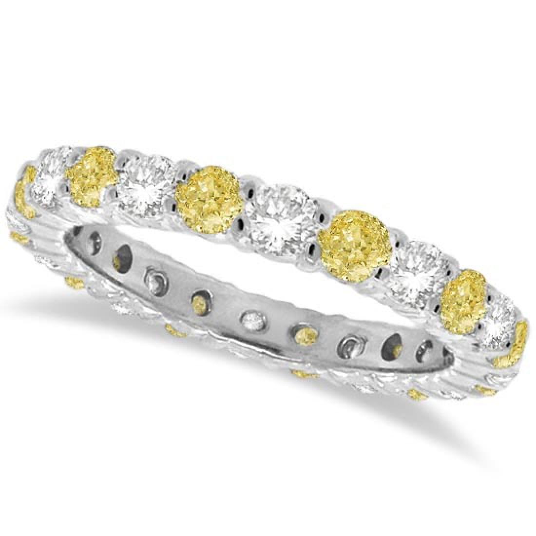 Fancy Yellow Canary and White Diamond Eternity Band 14k