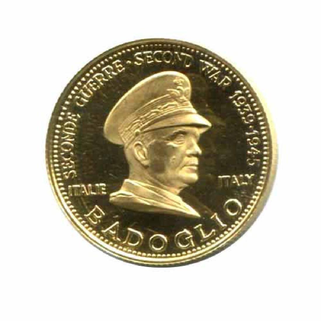WWII Commemorative Proof Gold Medal 7g. 1958 Badoglio