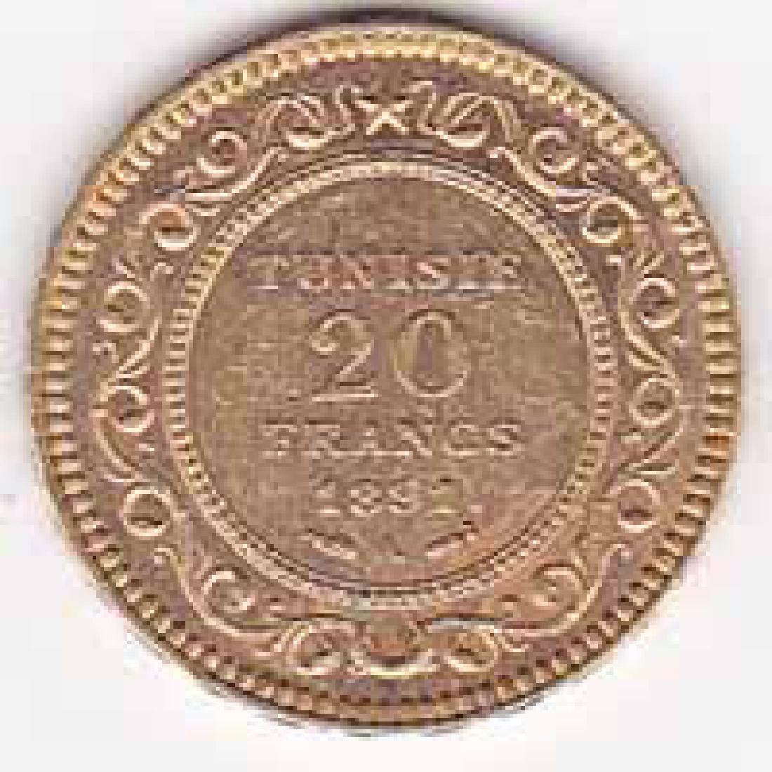 Tunisia 20 francs gold 1891-1902
