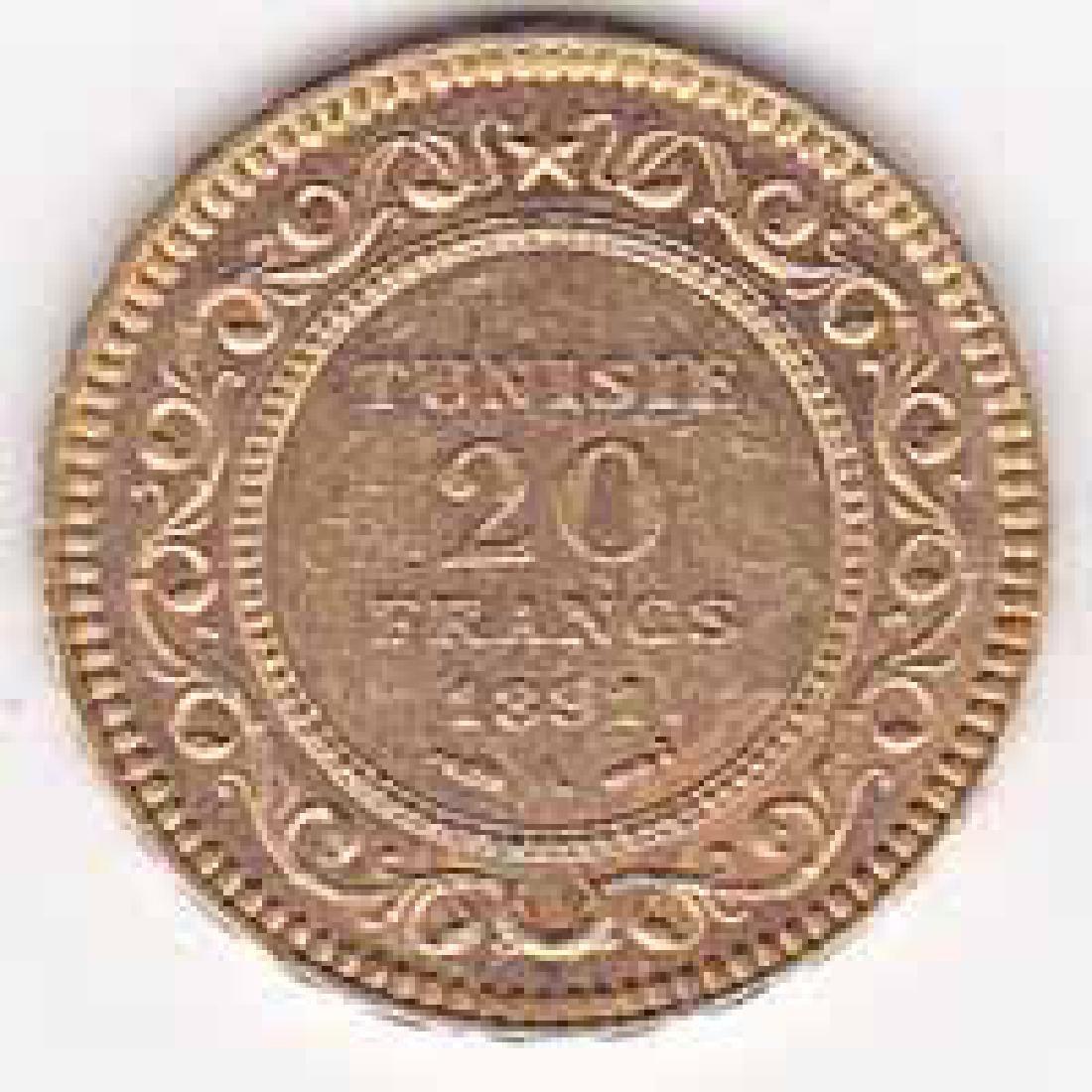 Tunisia 20 francs gold 1891-1902