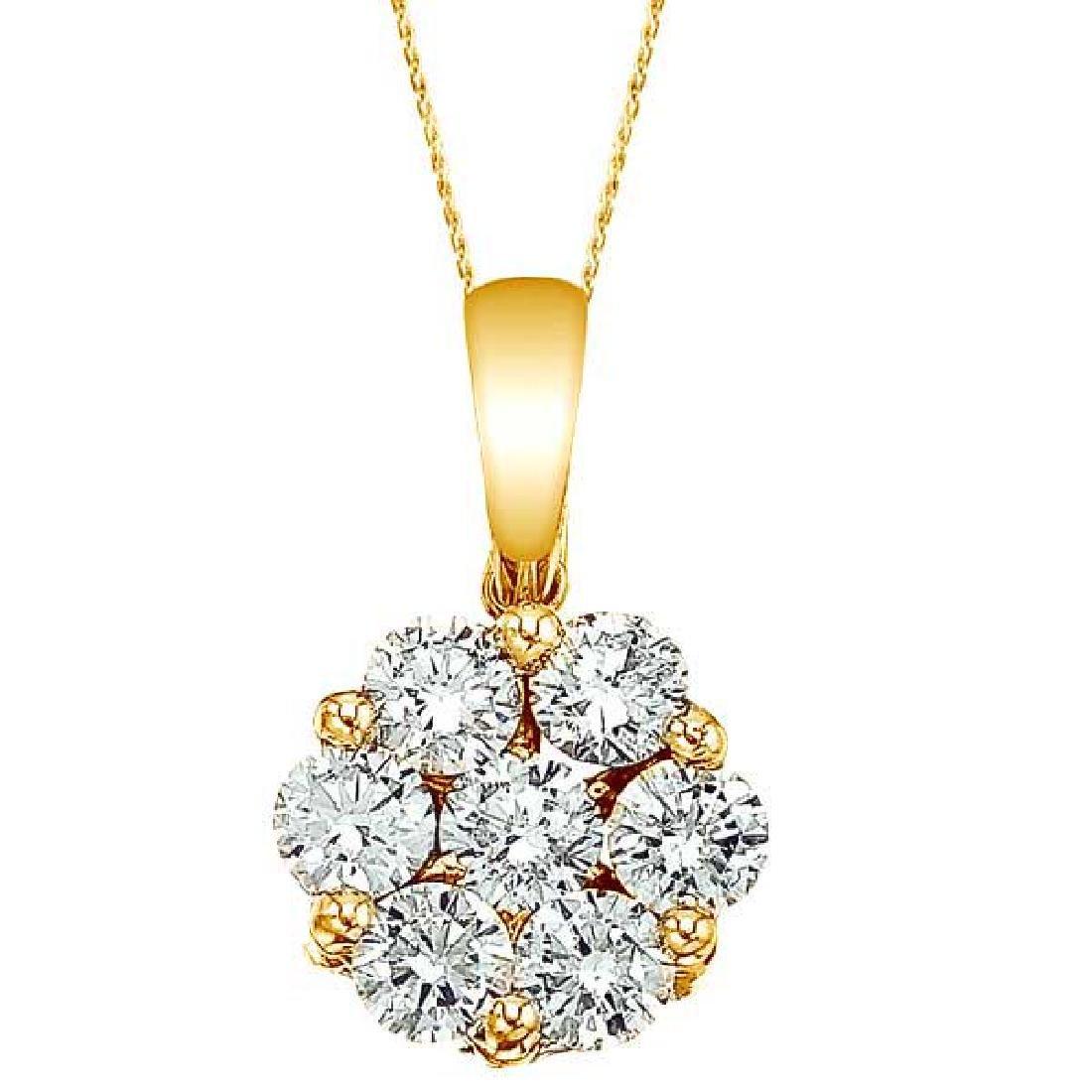 Diamond Cluster Flower Pendant Necklace in 14k Yello Go