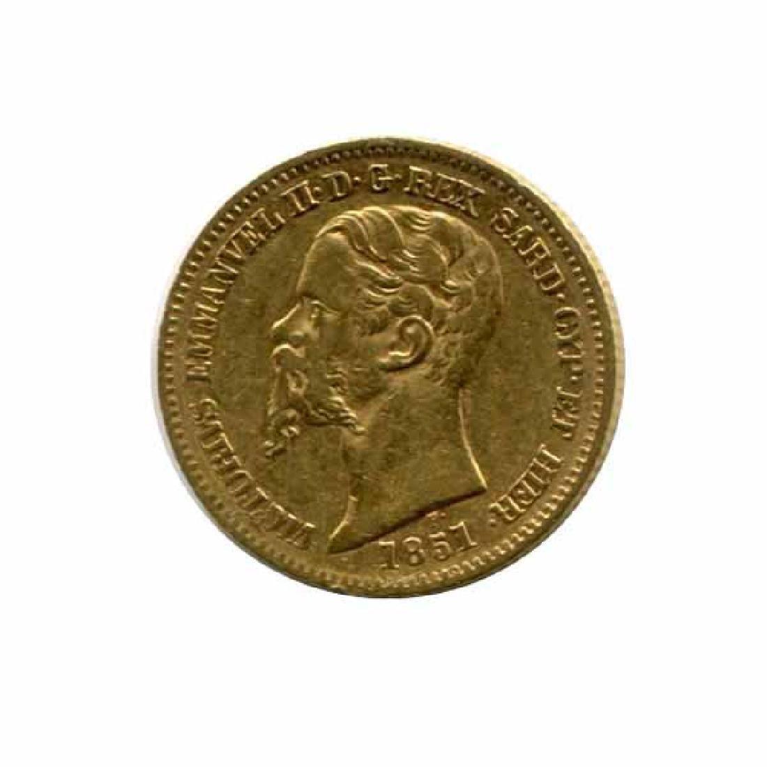 Italy Sardinia 20 lire gold 1850-1861 VF-XF