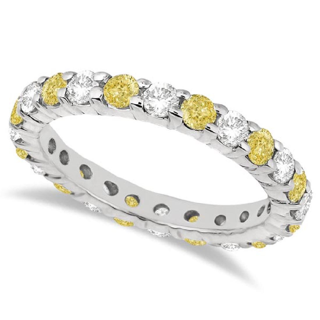 Canary Yellow and White Diamond Eternity Ring 14k White