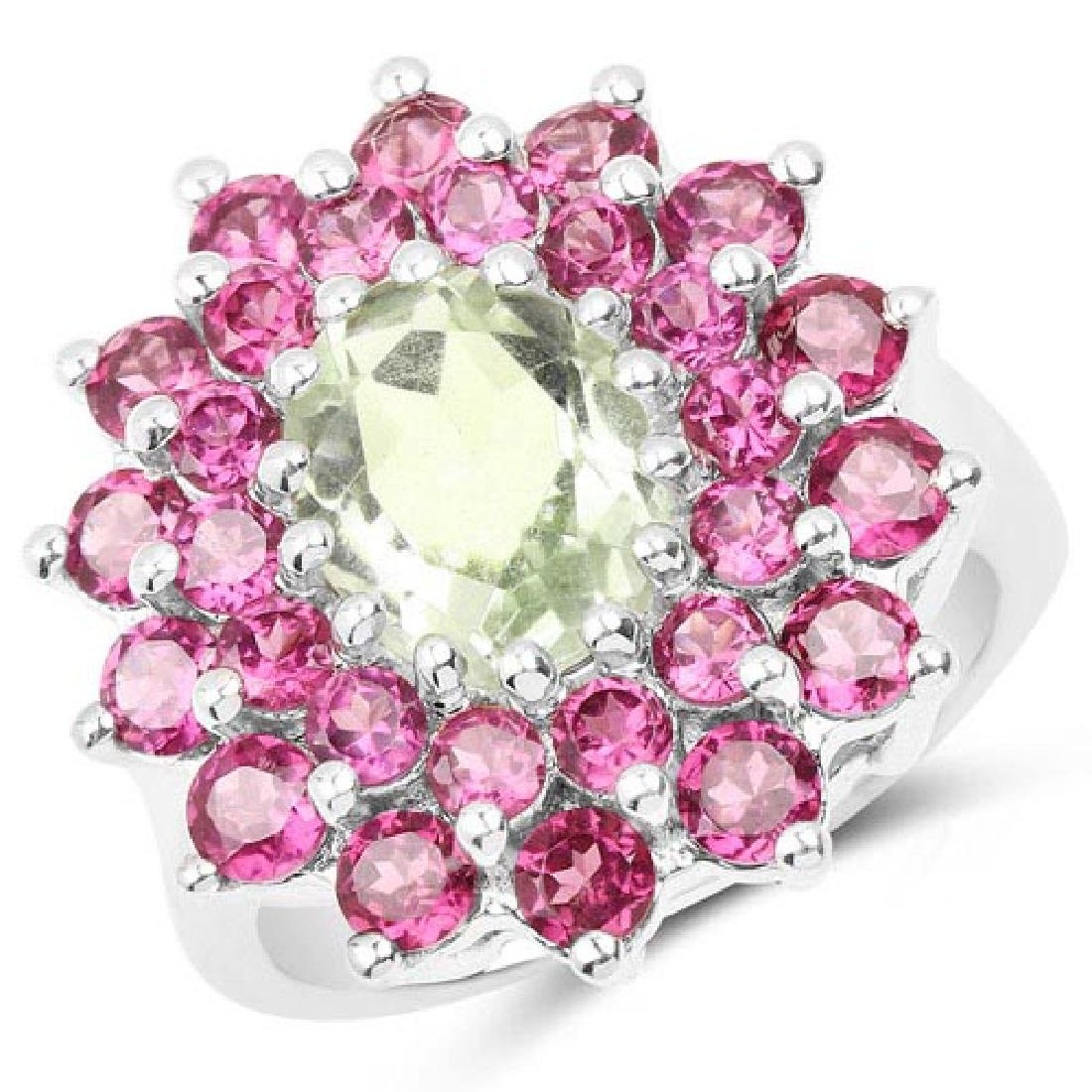 5.44 Carat Genuine Green Amethyst and Rhodolite .925 St