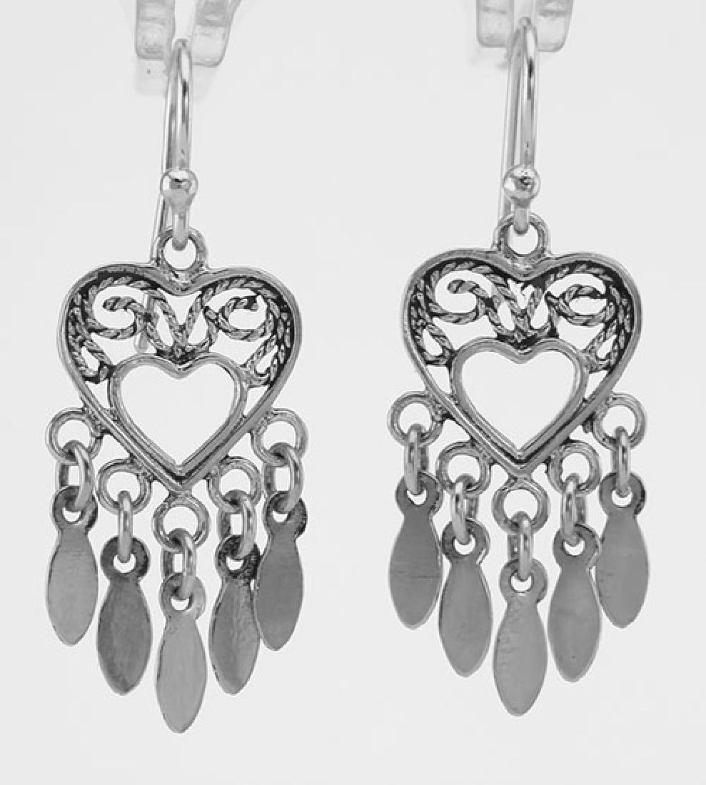 Antique Style Dangle Heart Earrings - Sterling Silver