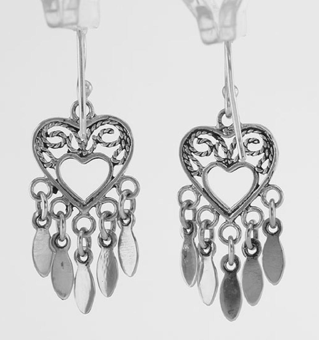 Antique Style Dangle Heart Earrings - Sterling Silver - 2