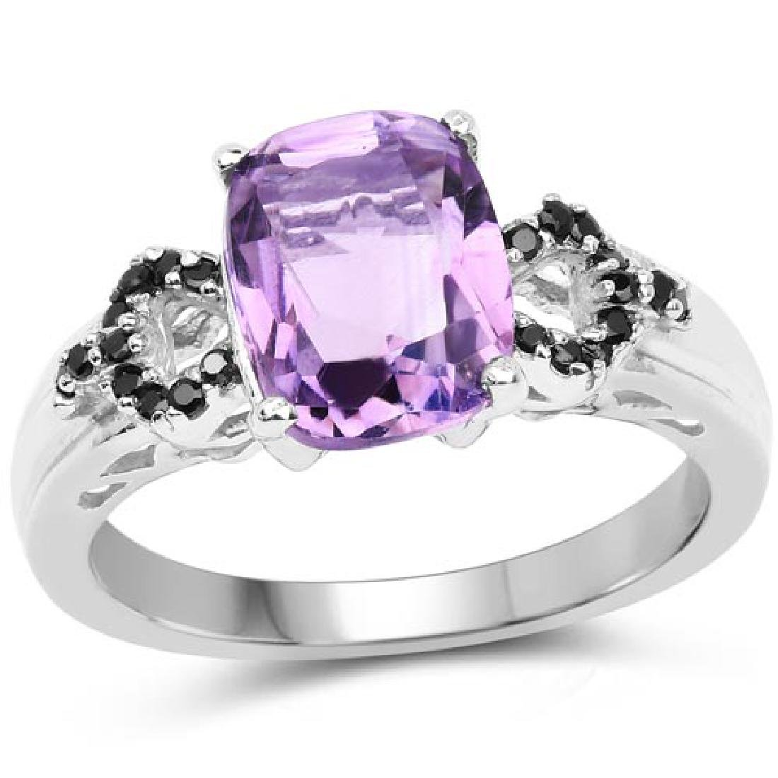 1.60 Carat Genuine Amethyst and Black Spinel .925 Sterl