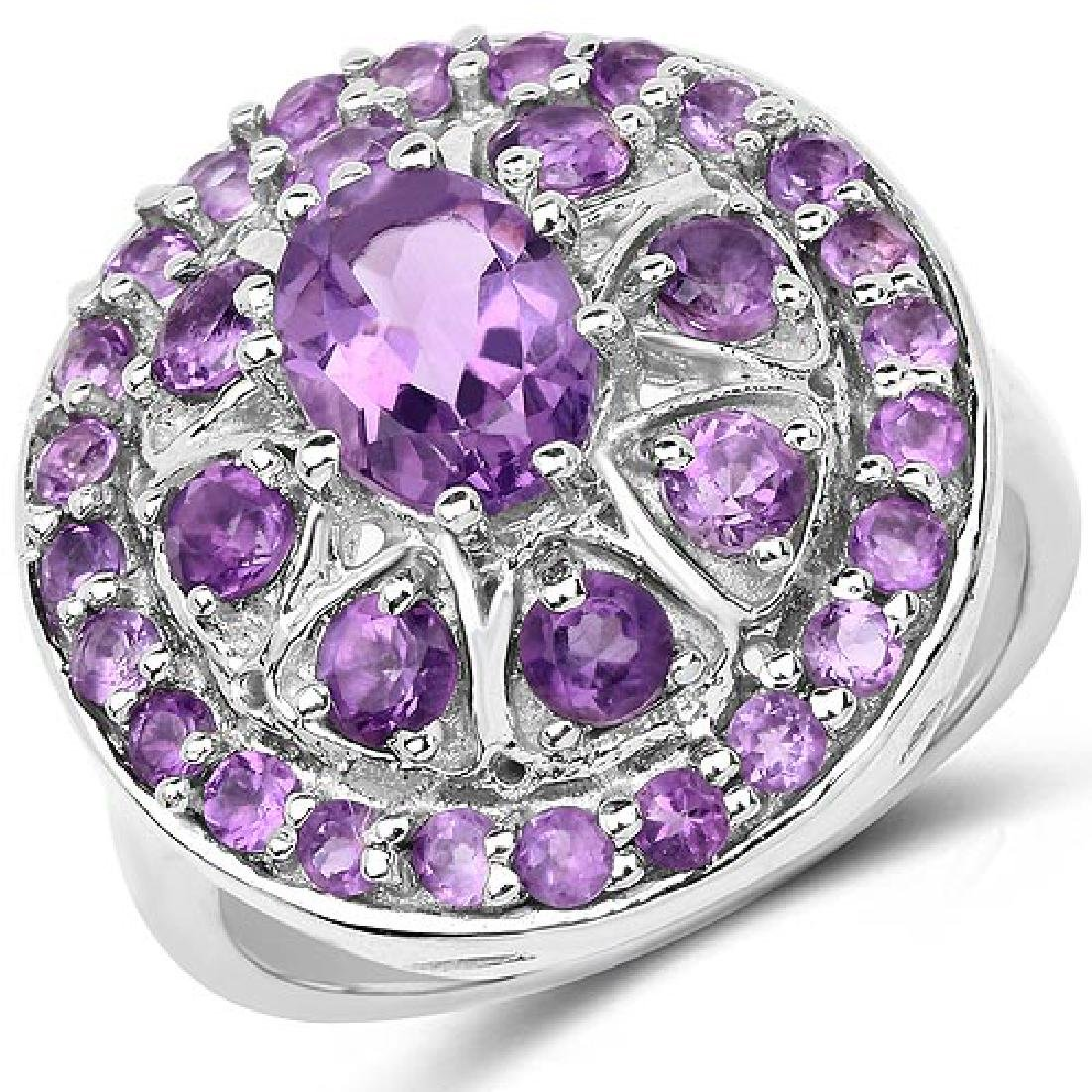 2.67 Carat Genuine Amethyst .925 Sterling Silver Ring
