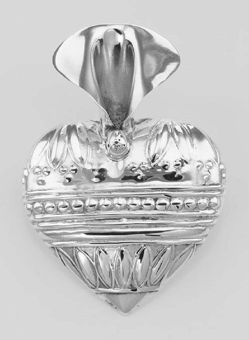 Art Deco Style Heart Vase Pin - Sterling Silver - 2