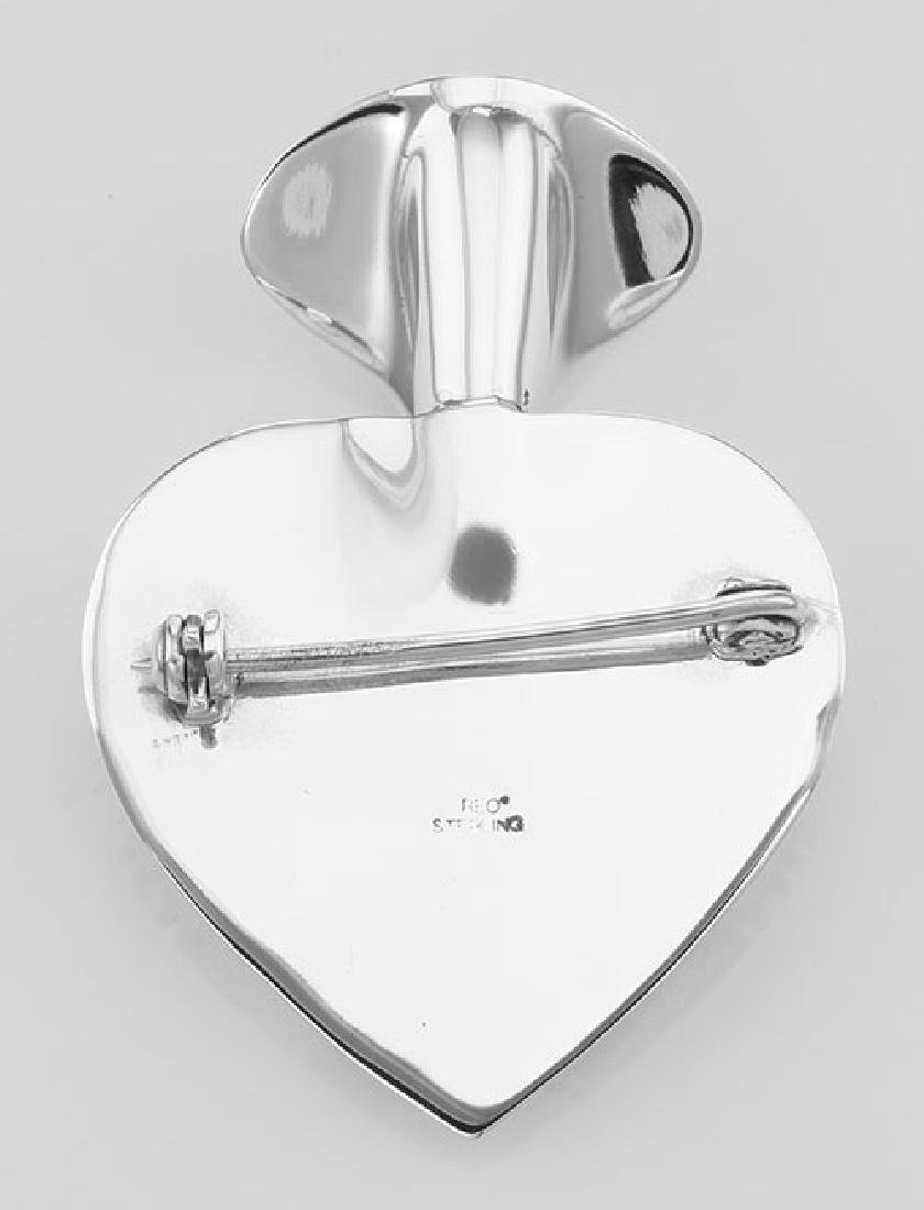 Art Deco Style Heart Vase Pin - Sterling Silver - 3