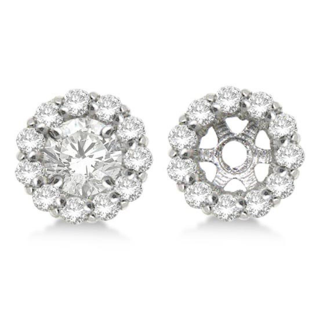 Round Diamond Earring Jackets for 6mm Studs 14K White G