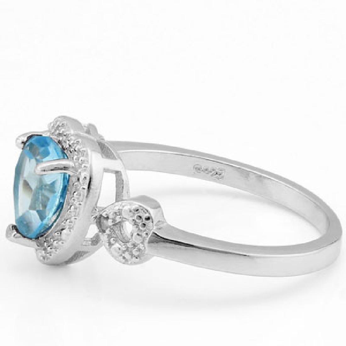 1.412 CARAT TW BLUE TOPAZ & GENUINE DIAMOND PLATINUM OV