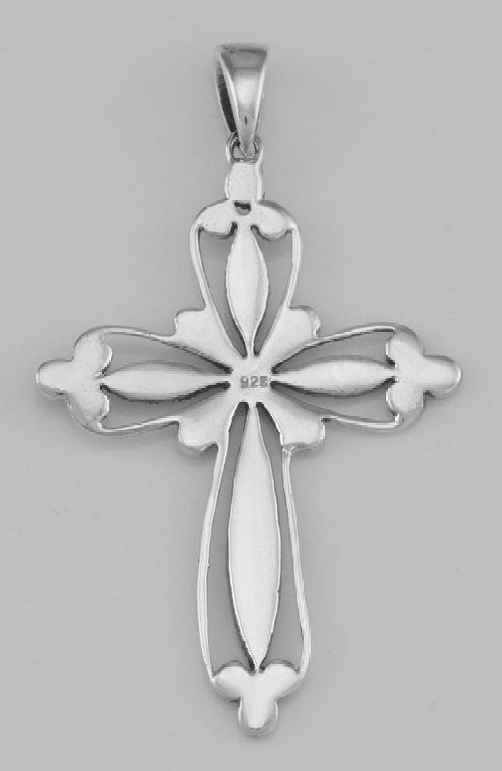 Victorian Style Filigree Marcasite Cross Pendant - Ster - 2
