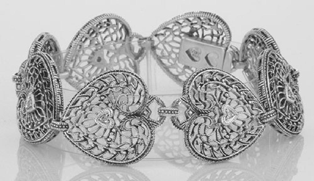 Victorian Style Filigree Heart Bracelet w/ Diamond - St