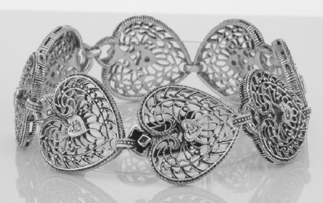Victorian Style Filigree Heart Bracelet w/ Diamond - St - 2