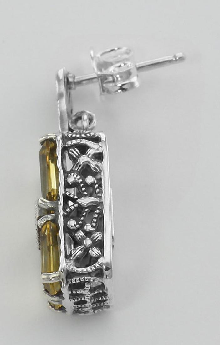 Art Deco Style Citrine w/ Diamond Art Deco Earrings - S - 3