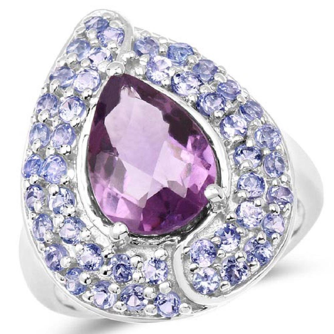 4.02 Carat Genuine Amethyst and Tanzanite .925 Sterling