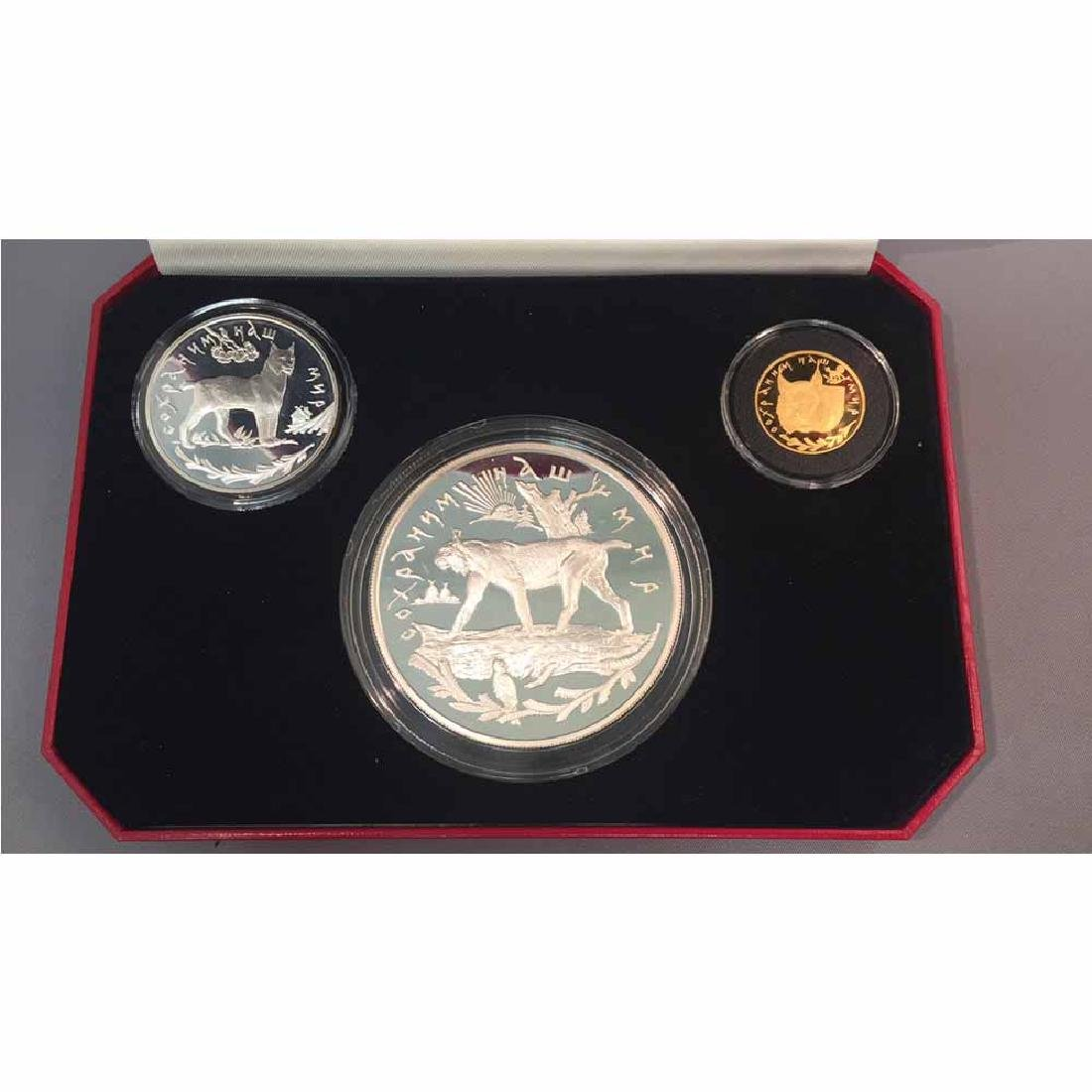Russia 3 Coin Silver and Gold Proof Set 1995 Lynx