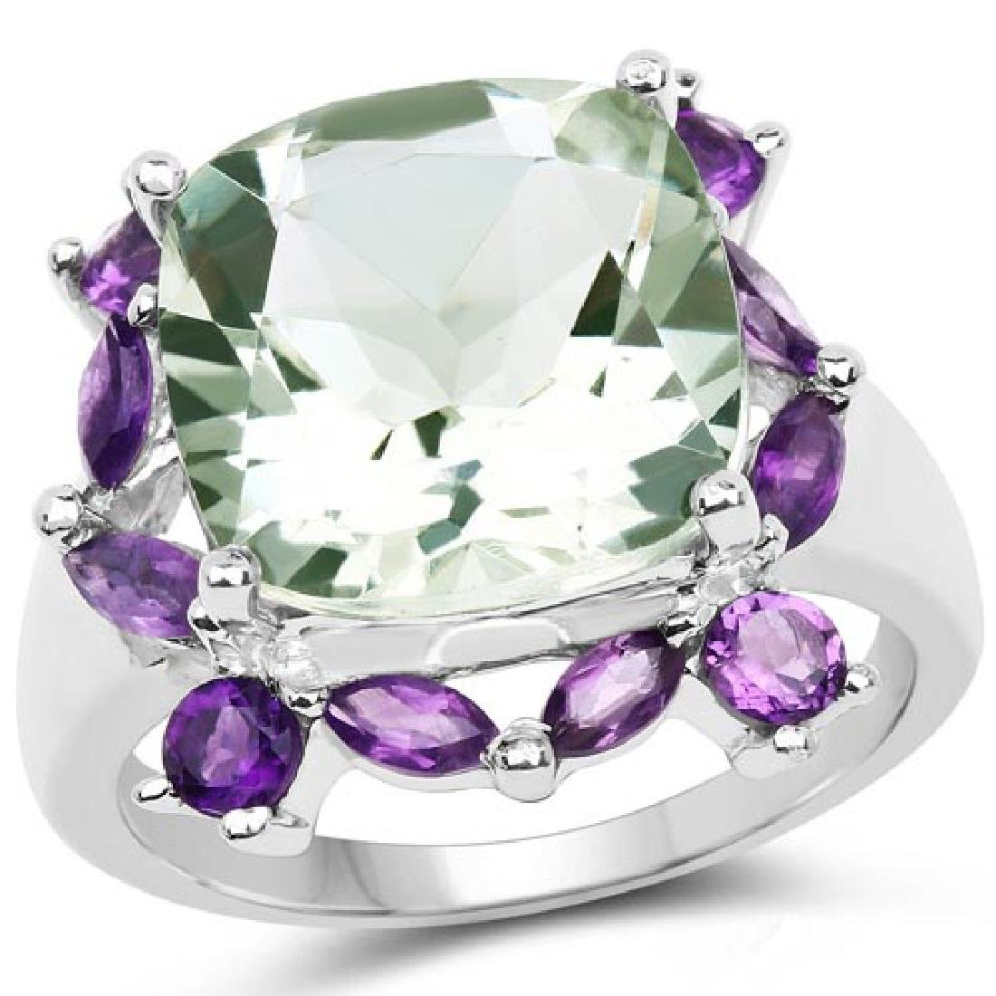 6.46 Carat Genuine Green Amethyst and Amethyst .925 Ste