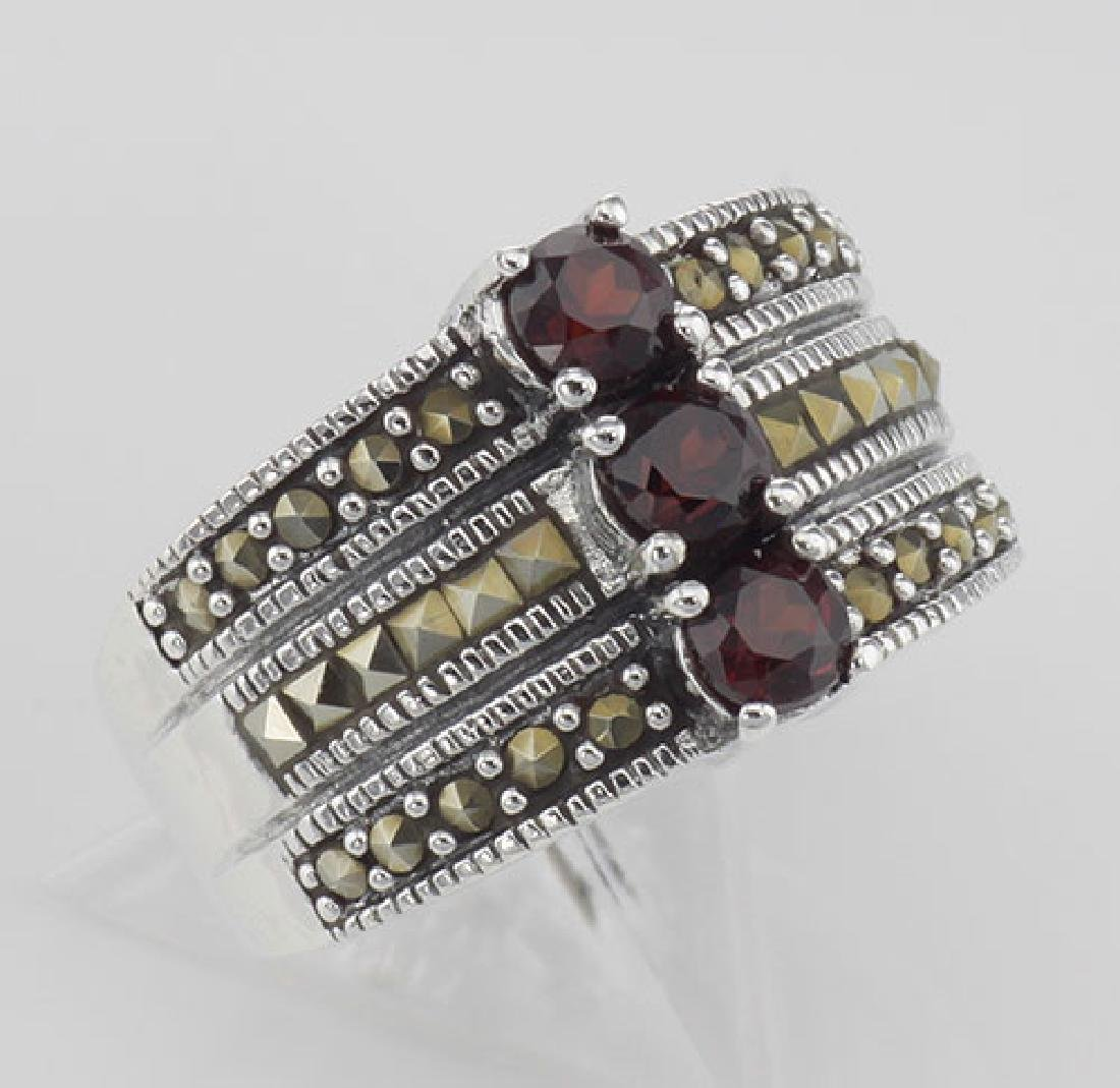 3 Stone Genuine Red Garnet and Marcasite Ring - Sterlin