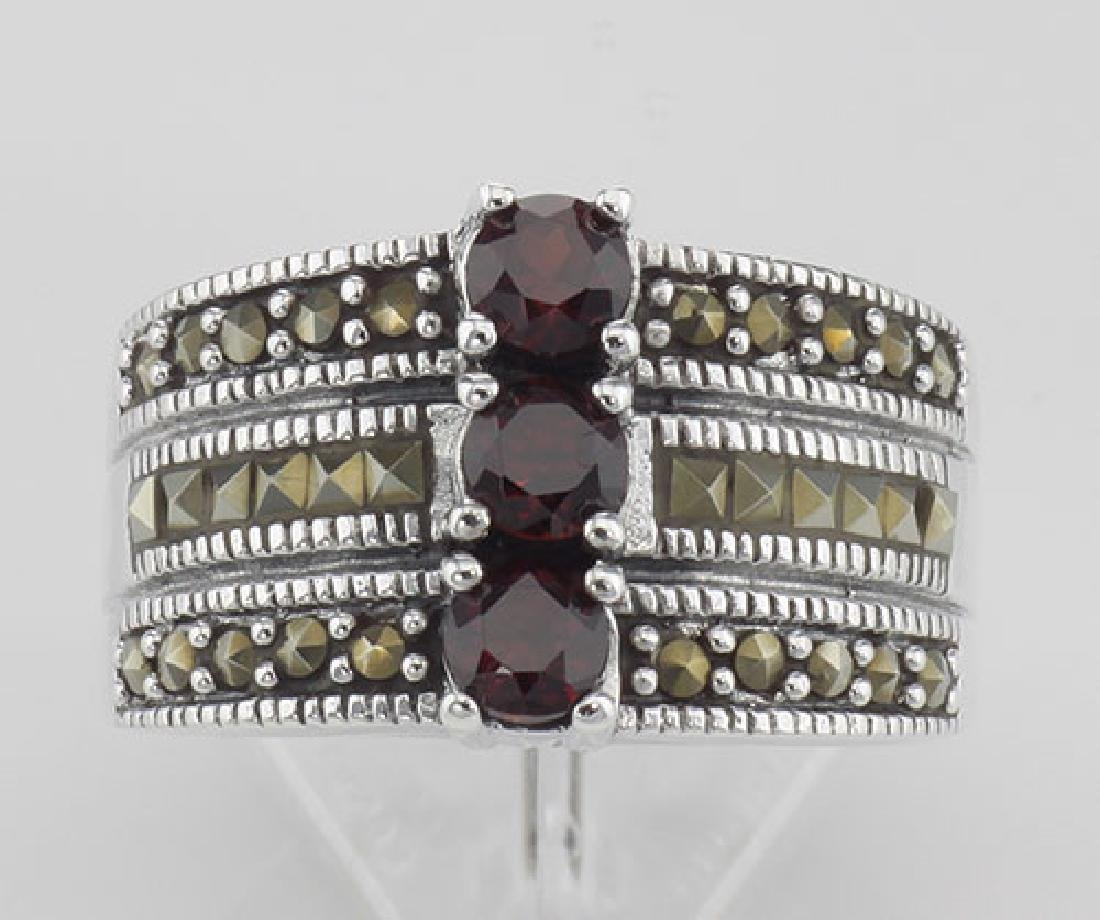 3 Stone Genuine Red Garnet and Marcasite Ring - Sterlin - 2