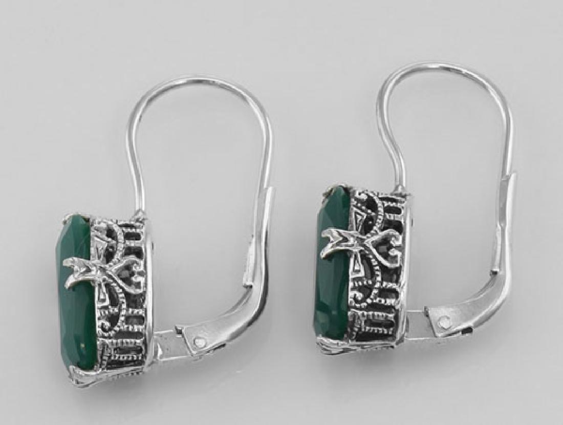 Green Onyx Filigree Earrings - Sterling Silver - 2