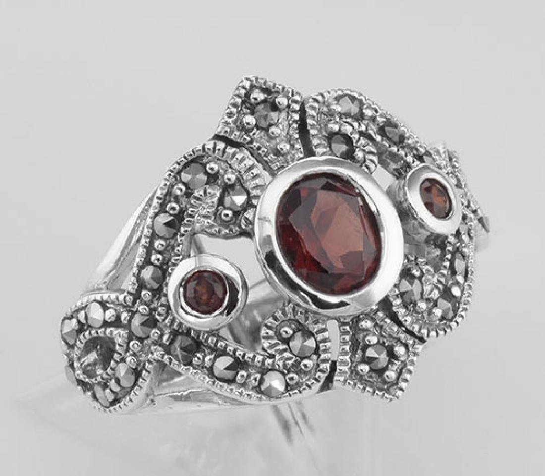 Antique Style Genuine Red Garnet and Marcasite Ring - S