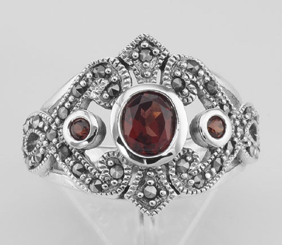 Antique Style Genuine Red Garnet and Marcasite Ring - S - 2