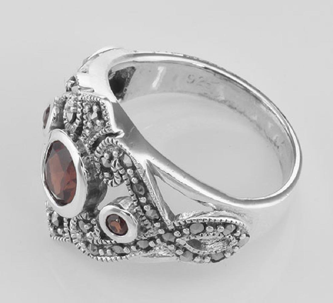 Antique Style Genuine Red Garnet and Marcasite Ring - S - 3