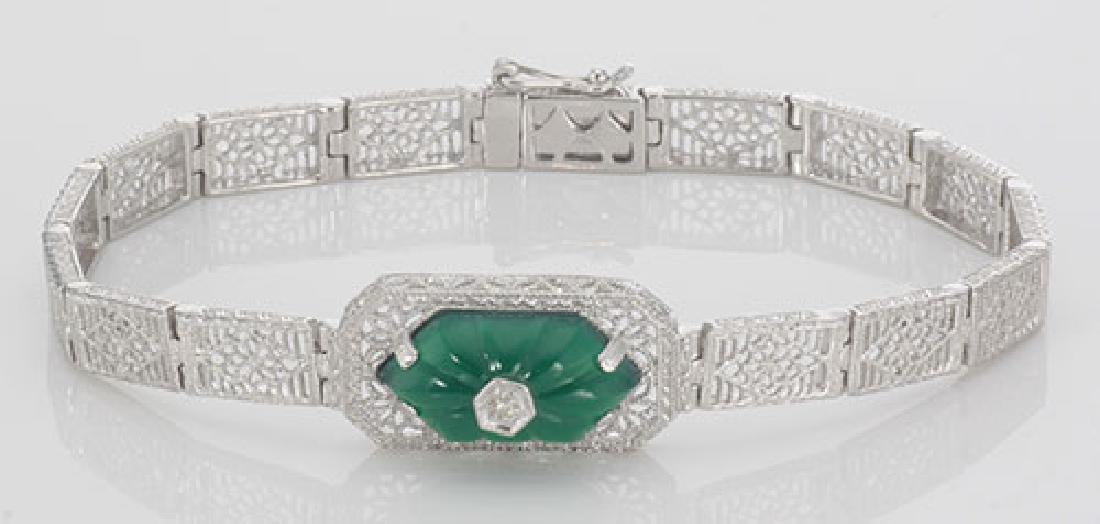 Victorian Style Filigree Bracelet w/ Green Onyx & Diamo