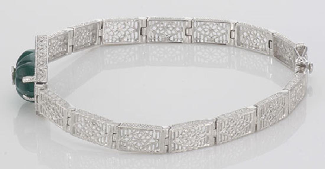 Victorian Style Filigree Bracelet w/ Green Onyx & Diamo - 2