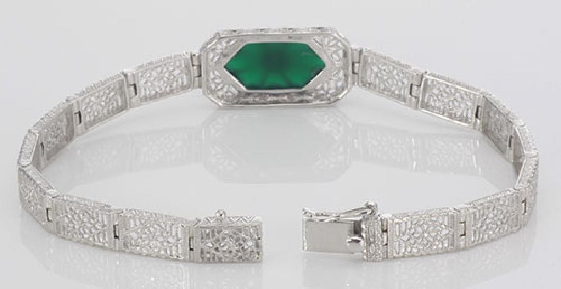 Victorian Style Filigree Bracelet w/ Green Onyx & Diamo - 3