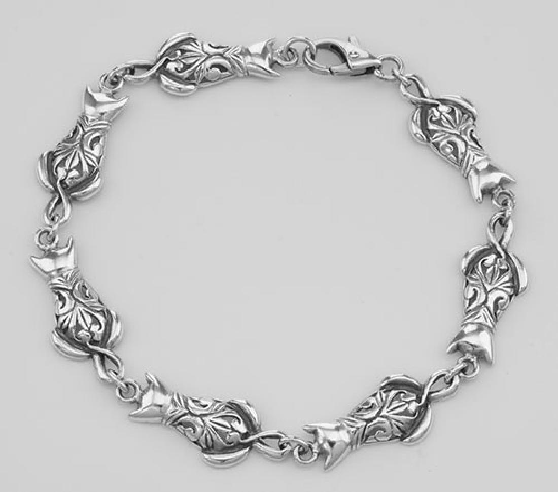 Unique Filigree Cat / Kitty Bracelet - Sterling Silver