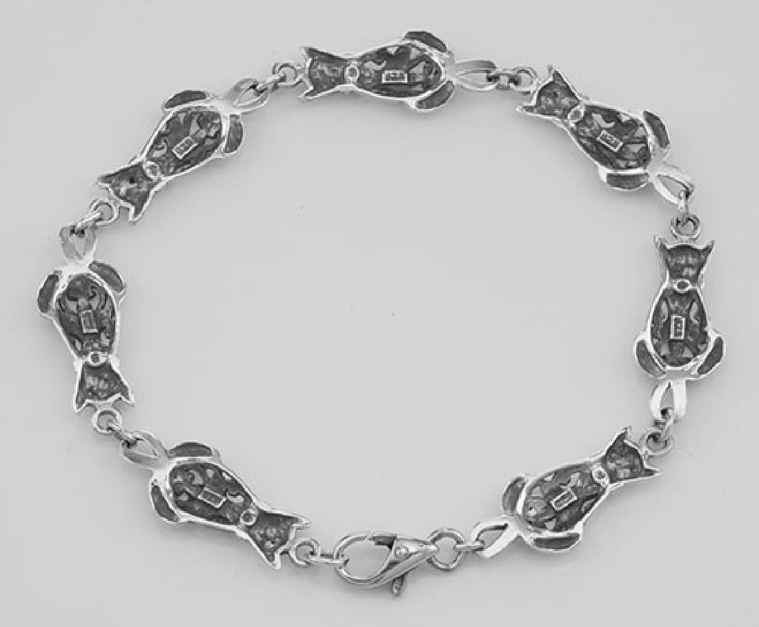 Unique Filigree Cat / Kitty Bracelet - Sterling Silver - 2