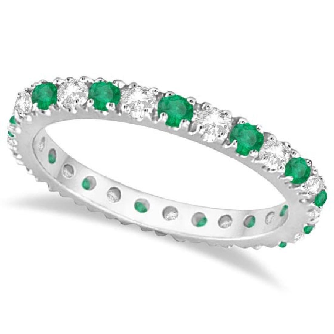 Diamond and Emerald Eternity Ring Stackable Band 14K Wh