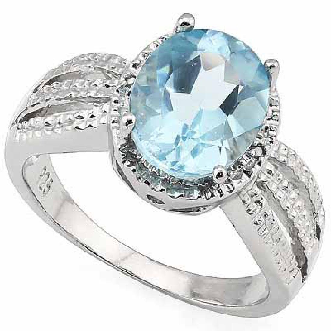 3.19 CARAT TW (3 PCS) BLUE TOPAZ & GENUINE DIAMOND PLAT