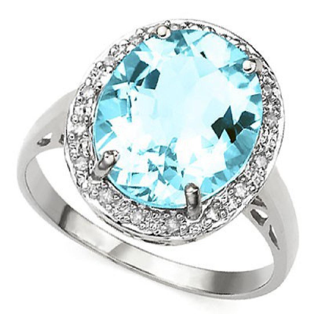 6 CARAT BABY SWISS BLUE TOPAZ & DIAMOND 925 STERLING SI