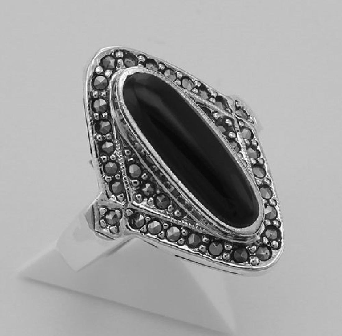 Onyx and Marcasite Ring - Sterling Silver
