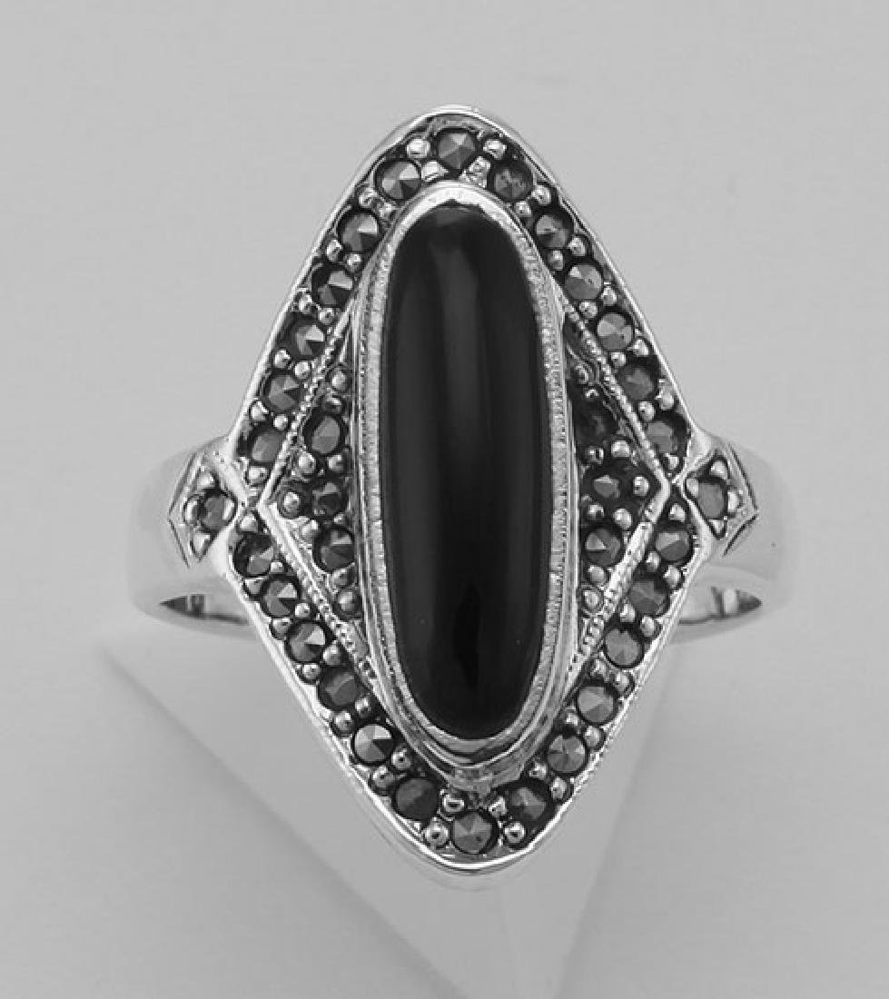 Onyx and Marcasite Ring - Sterling Silver - 2