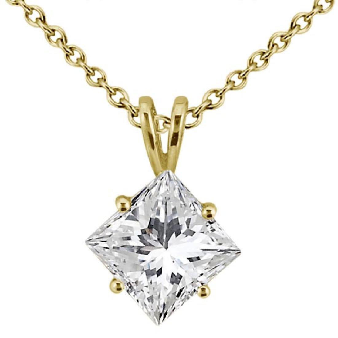1.00ct. Princess-Cut Diamond Solitaire Pendant in 18k Y