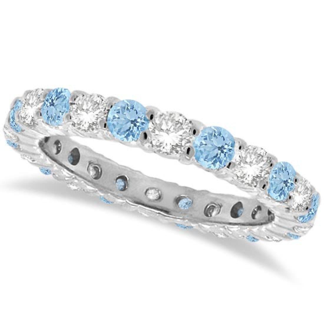 Aquamarine and Diamond Eternity Ring Band 14k White Gol