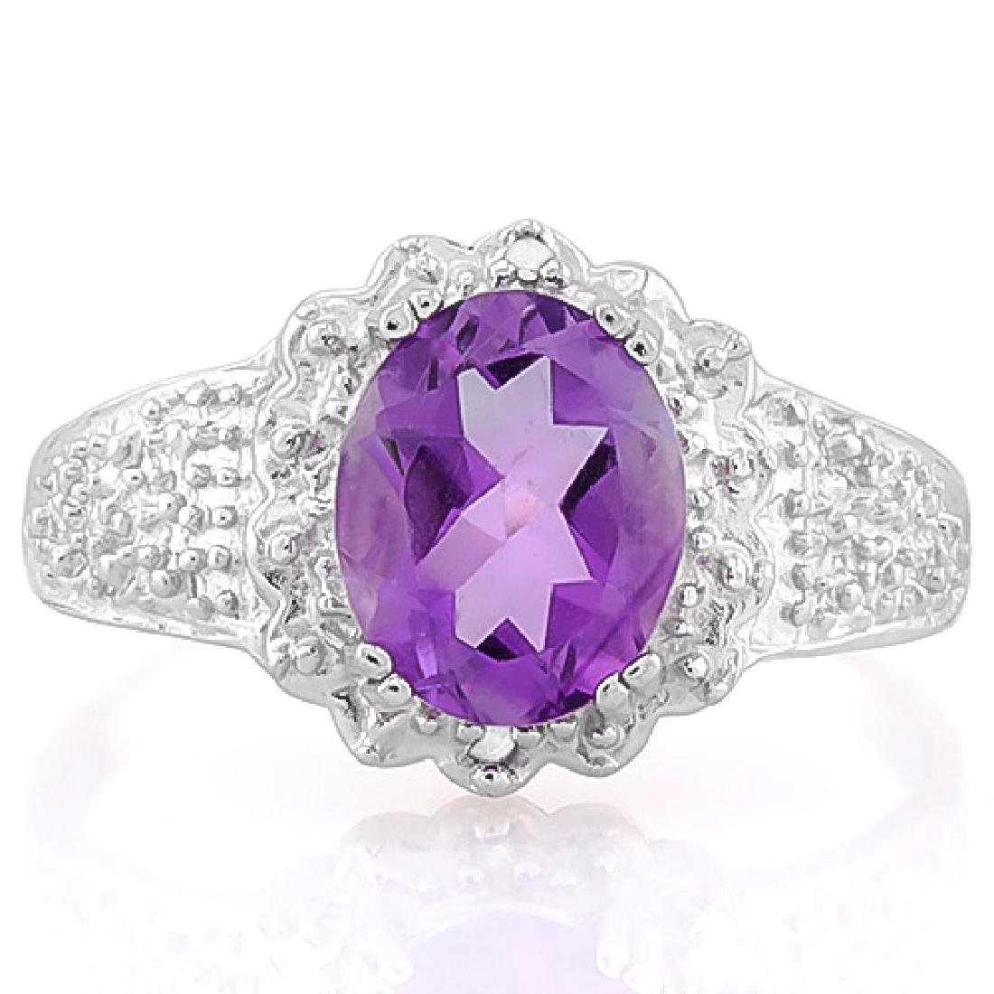1 2/3 CARAT AMETHYST & DIAMOND 925 STERLING SILVER RING