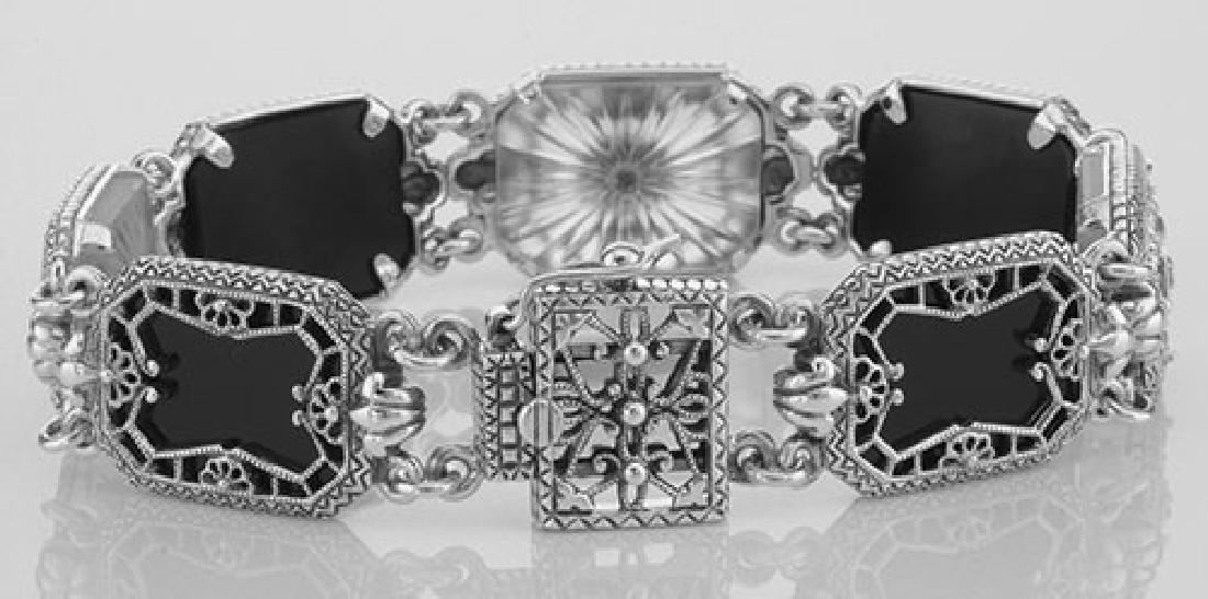 Victorian Style Filigree Bracelet Onyx Camphor Glass / - 2