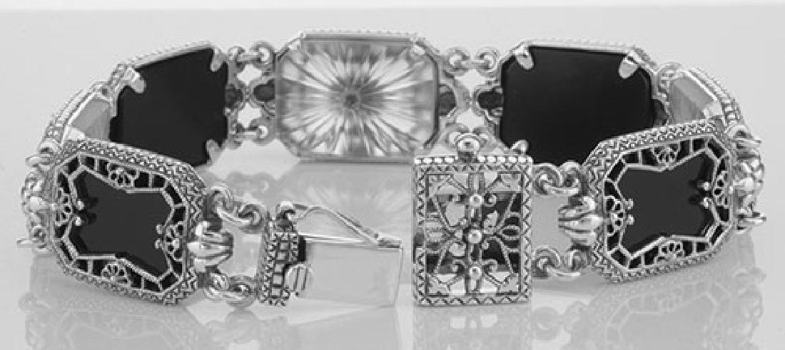 Victorian Style Filigree Bracelet Onyx Camphor Glass / - 3