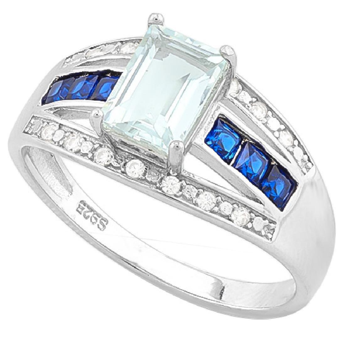 AQUAMARINE & (38 PCS) FLAWLESS CREATED DIAMOND 925 STER